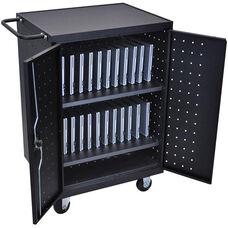 Locking Steel 24 Laptop/Chromebook Computer Charging Cart - Black - 31.125