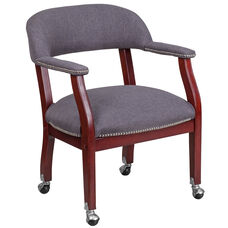 Gray Fabric Luxurious Conference Chair with Accent Nail Trim and Casters