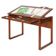 Ponderosa Clear Tempered Glass and Solid Wood Drafting Table with Storage Drawer - Sonoma Brown