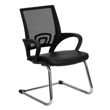 Black Mesh Side Reception Chair with Leather Seat and Sled Base