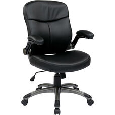 Work Smart Executive Mid Back Eco Leather Chair with Adjustable Padded Flip Arms and Titanium Finish Base - Black