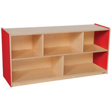 Wooden 5 Compartment Single Mobile Storage Unit - Strawberry - 48