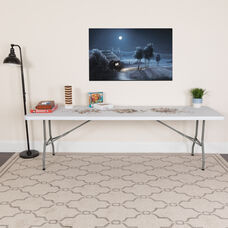 8-Foot Granite White Plastic Folding Table