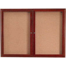 2 Door Enclosed Bulletin Board with Cherry Finish - 36''H x 48''W