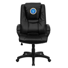 Dreamweaver Personalized Black Leather Executive Swivel Office Chair with Arms