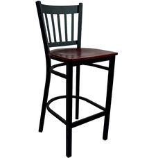 Advantage Vertical Slat Back Metal Bar Stool - Mahogany Wood Seat