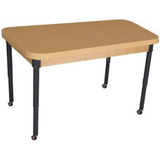 Mobile Rectangular High Pressure Laminate Table with Adjustable Steel Legs - 44