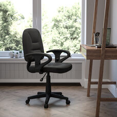 Mid-Back Black Leather Swivel Ergonomic Task Office Chair with Adjustable Arms