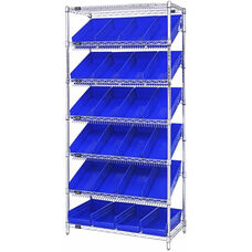 Stationary Slanted Wire Shelving with 24 Economy Shelf Bins - Blue