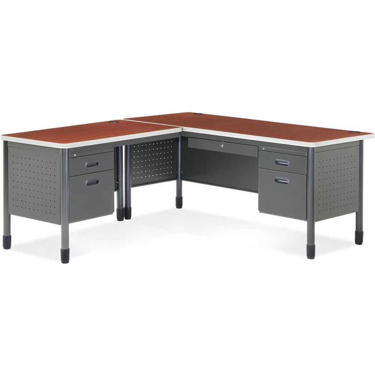 Our Mesa L Shaped Desk With Left Pedestal Return Cherry Is On Now
