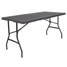 5-Foot Bi-Fold Wood Grain Plastic Folding Table