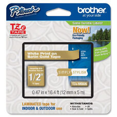 Brother TZe-MQP35 White on Berry Pink Label Tape - 0.47