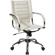 Ave Six Trinidad Vinyl Contoured Seat Office Chair with Chrome Base and Casters - Cream