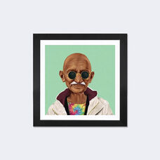 Mahatma Gandhi by Amit Shimoni Artwork on Fine Art Paper with Black Matte Hardwood Frame - 16