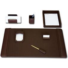 Classic Leather 7 Piece Desk Set - Chocolate Brown