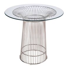 Contemporary Nat Table with Metal Base and Clear Glass Top