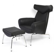 Black Italian Leather Bull Lounge Chair with Ottoman