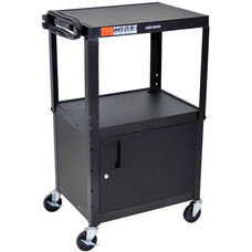 Adjustable Height Steel A/V Cart with Locking Cabinet - Black - 24