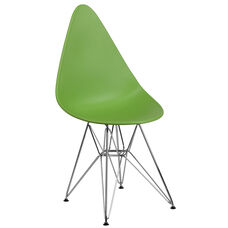 Allegra Series Teardrop Green Plastic Chair with Chrome Base