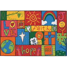 Kids Value Inspirational Patchwork Rectangular Nylon Rug - 48''W x 72''D