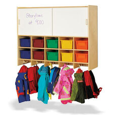 10 Section Wall Mount Coat Locker with Storage with Colored Cubbie-Trays