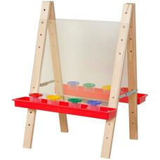 Tot Size Double Sided Acrylic Easel with 8 Paint Cups and Red Trays - 20
