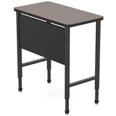 Apex Series Height Adjustable Stand Up Desk with PVC Edge - Gray Nebula Top with Black Edge and Legs - 36