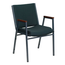 HERCULES Series Heavy Duty Green Patterned Fabric Stack Chair with Arms