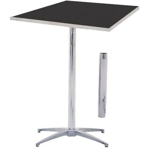 Our Standard Series Square Pedestal Table with Height Adjustable Columns, Chrome Plated Steel Column, and Laminate Top - 36