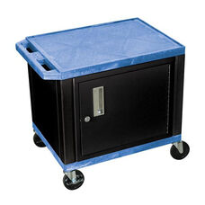 Blue Tuffy Plastic Cart with Cabinet and Black Legs