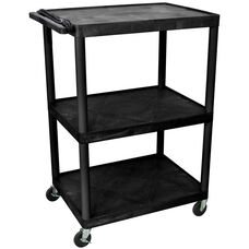 3 Shelf High Open A/V Utility Cart with 3 Outlet Surge - Black - 32