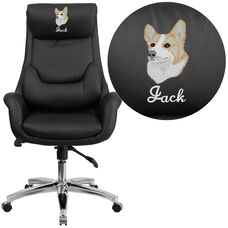 Embroidered High Back Black LeatherSoft Executive Swivel Office Chair with Lumbar Pillow and Arms