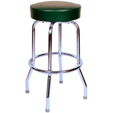 50's Retro Backless 30''H Swivel Bar Stool with Chrome Frame and Padded Seat - Green Vinyl