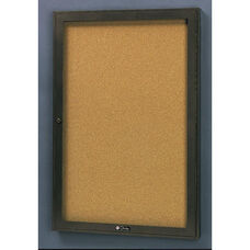 Rival Aluminum Frame Bulletin Board Cabinet with Tan Nucork Back Panel - 18