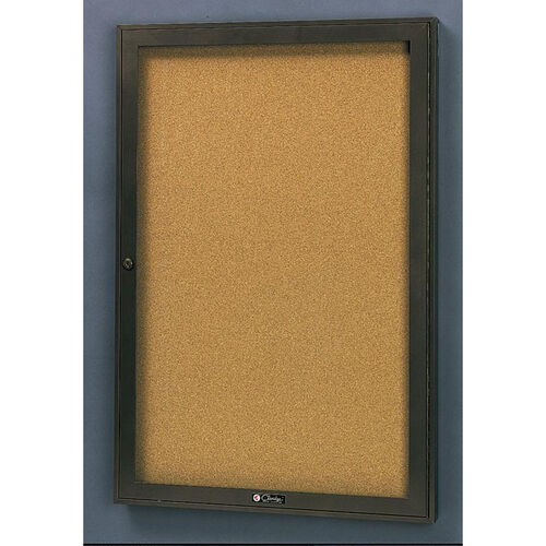 Our Rival Aluminum Frame Bulletin Board Cabinet with Tan Nucork Back Panel - 18