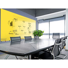 Aria Horizontal Magnetic Glass Dry Erase Board with 4 Markers, Eraser, and 4 Rare Earth Magnets - Yellow - 36