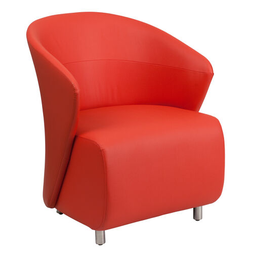 Our Red Leather Curved Barrel Back Lounge Chair is on sale now.