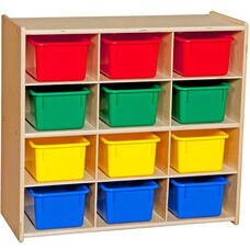 Contender Baltic Birch Storage Unit with 12 Assorted Plastic Tubs - Unassembled - 30
