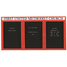 3 Door Indoor Enclosed Directory Board with Header and Red Anodized Aluminum Frame - 36