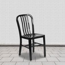 Commercial Grade 2 Pack Black Metal Indoor-Outdoor Chair