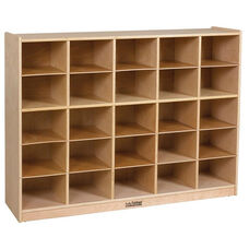 Birch 25 Cubby Tray Cabinet with 25 Sand Colored Bins - 48