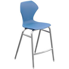 Apex Series Plastic Height Adjustable Stool with Foot Rest - Blueberry Seat and Chrome Frame - 21