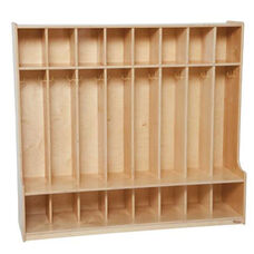 8-Section Seat Lockers with Two Coat Hooks in Each Section - Assembled - 54''W x 15''D x 49''H