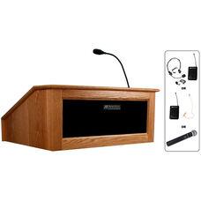 Solid Hardwood Victoria Wireless 150 Watt Sound and Hand Held Mic Tabletop Lectern - Cherry Finish - 27