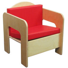 Children's Chair with Two Reversible Red Vinyl Cushions - Assembled - 17''W x 15.75''D x 20''H