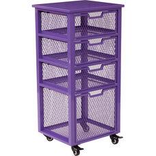 OSP Designs Clayton 4 Drawer Rolling Cart - Purple