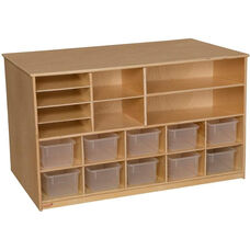 Wooden Versatile Storage Unit with 10 Clear Plastic Trays - 48