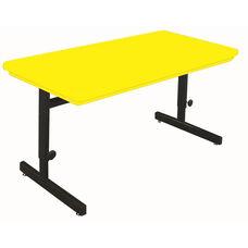 Blow-Molded Plastic Top Adjustable Height Rectangular Computer Station - 24