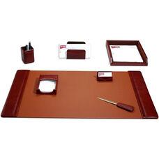 Classic Leather 7 Piece Desk Set - Mocha
