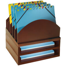 Bindertek Wood Stacking Desktop Organizer with Step Up File and 2 Trays - Mahogany